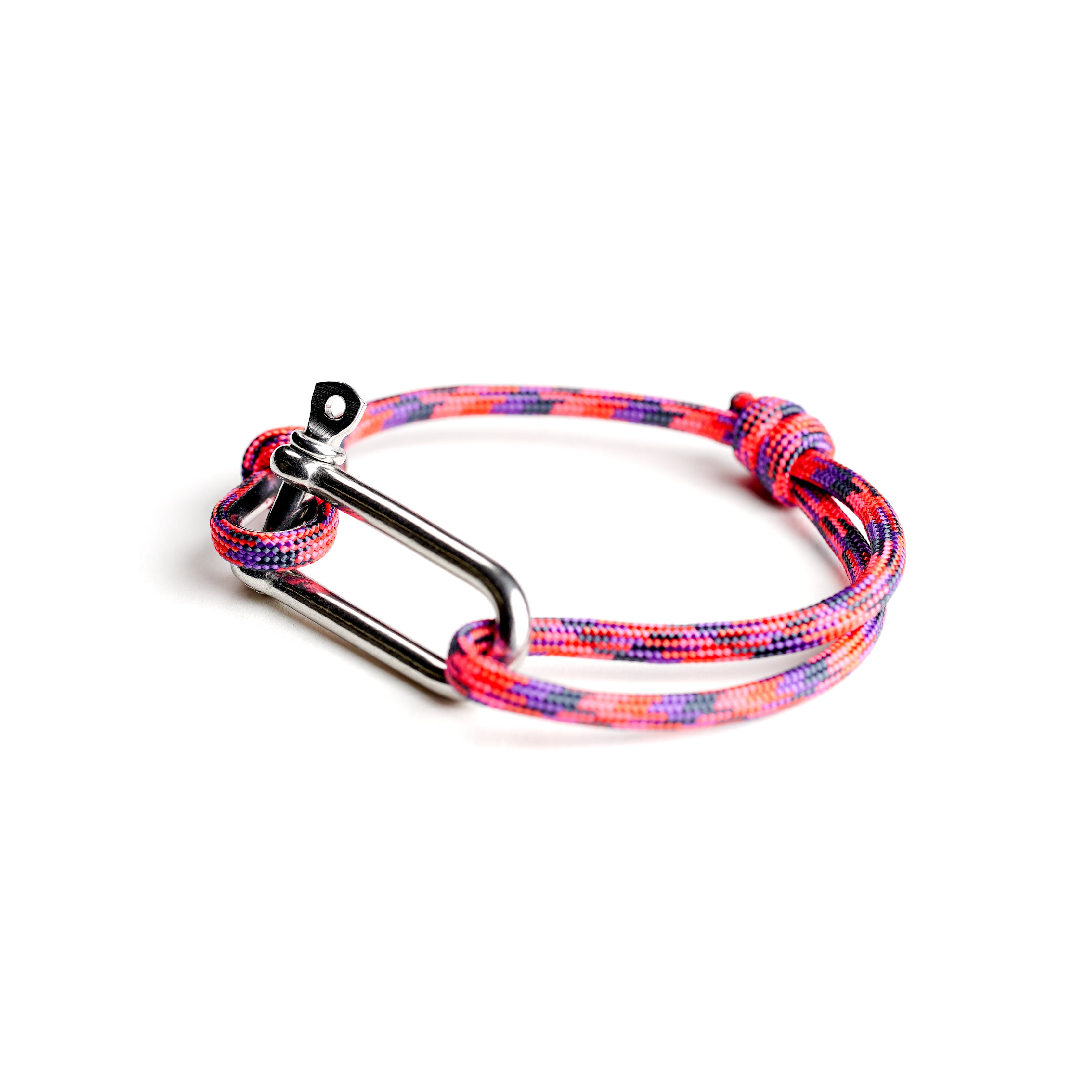 Paracord Nautical Bracelet with Stainless Steel Shackle - Pink & Purple