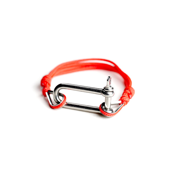 Red Paracord Nautical Bracelet with Stainless Steel Shackle