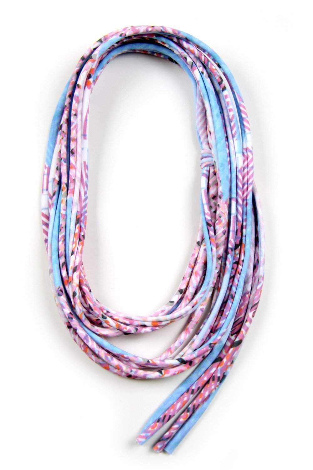 Baby Blue Pink Skinny Scarf Necklace-scarves-Necklush