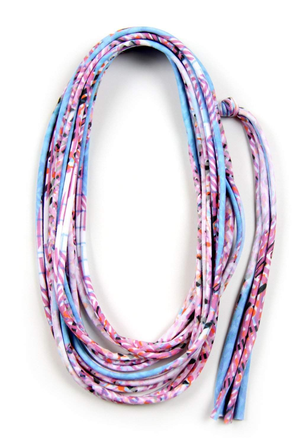 Baby Blue Pink Skinny Scarf Necklace