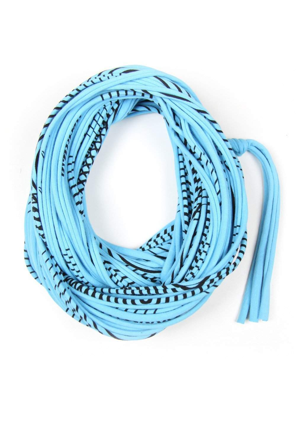 Baby Blue Striped Chunky Cowl-scarves-Necklush