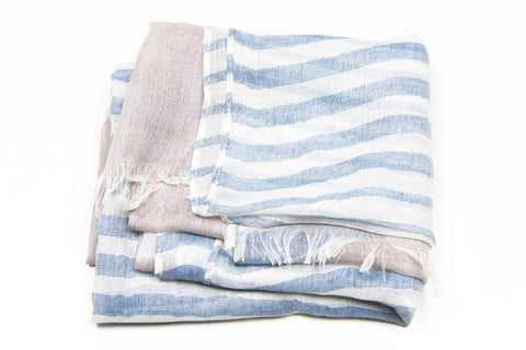 Beige Blue Striped Scarf-scarves-Necklush