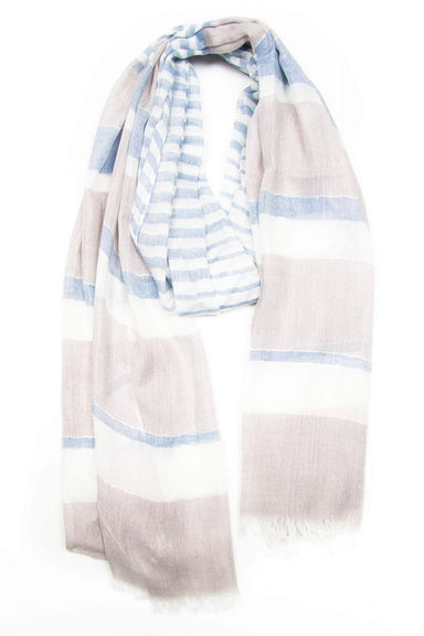 Beige Blue Striped Scarf