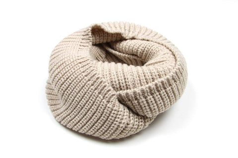 Beige, S&y Brown, Infinity Scarf, Chunky Cowl, Knit, Mens Womens-scarves-Necklush