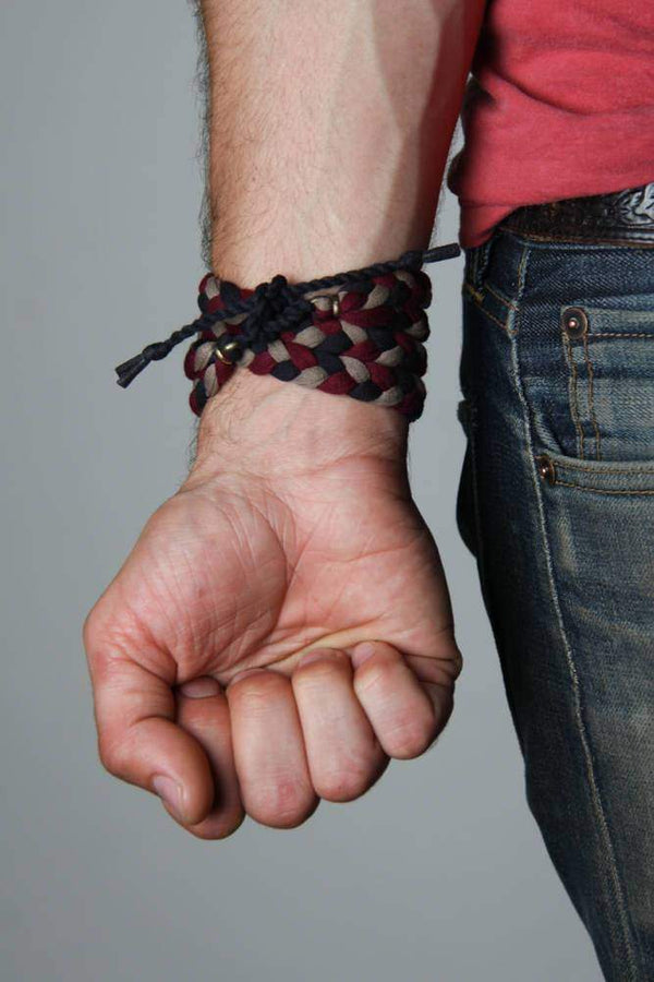 mens bracelet-Black Maroon Tan Braided Bracelet-Necklush