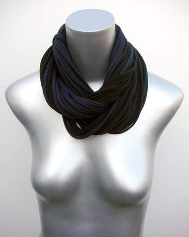 Black Navy Blue Cowl Scarf-scarves-Necklush