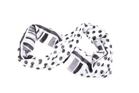 Black White Circle Scarf-scarves-Necklush