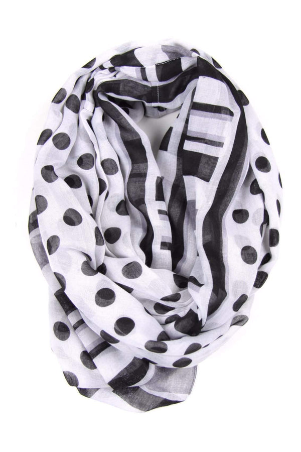 Black White Circle Scarf