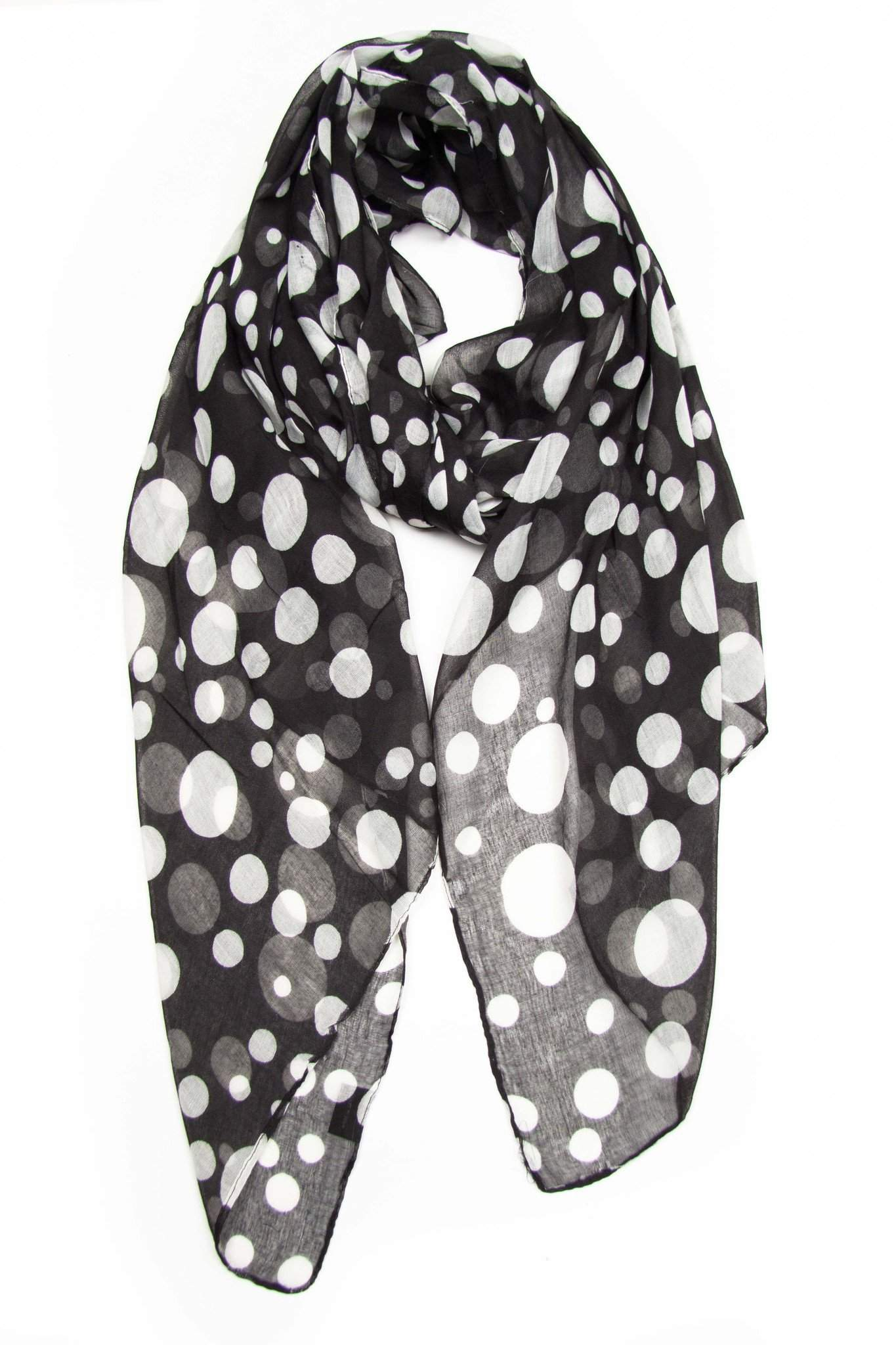 Black White Polka Dot Scarf