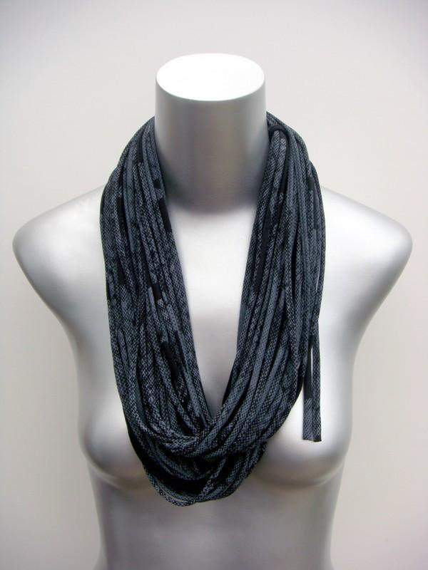 Black with White Print / Classic-scarves-Necklush