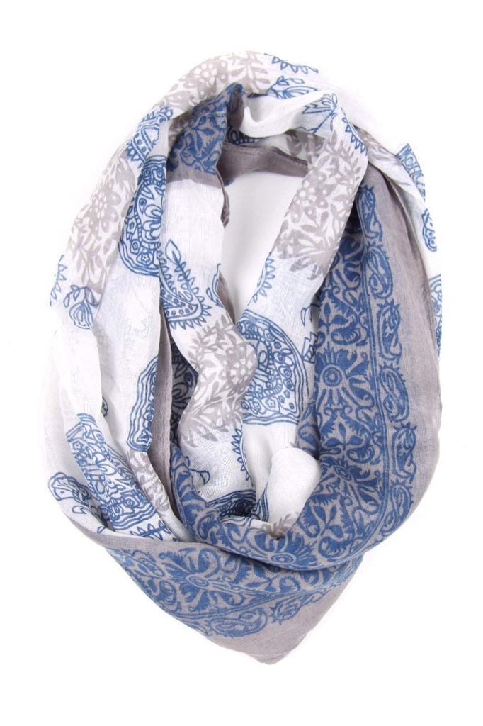 Blue Beige Circle Scarf