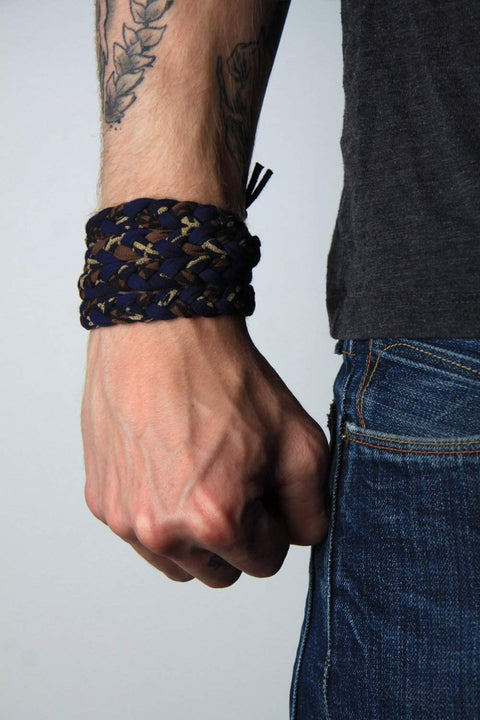 mens bracelet-Blue Black Brown Gold Braided Bracelet-Necklush
