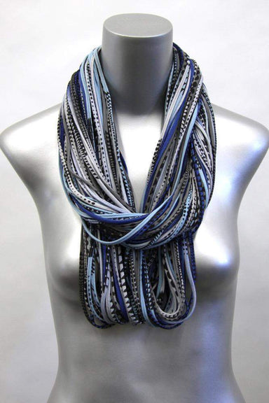 Blue Gray Black Chunky Scarf-scarves-Necklush