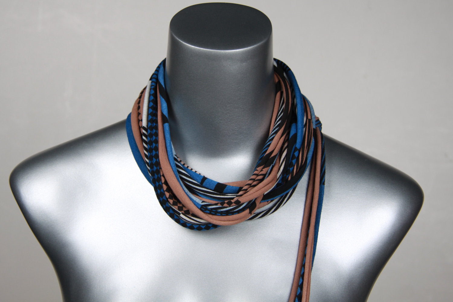 Blue & Beige Skinny Scarf Necklace