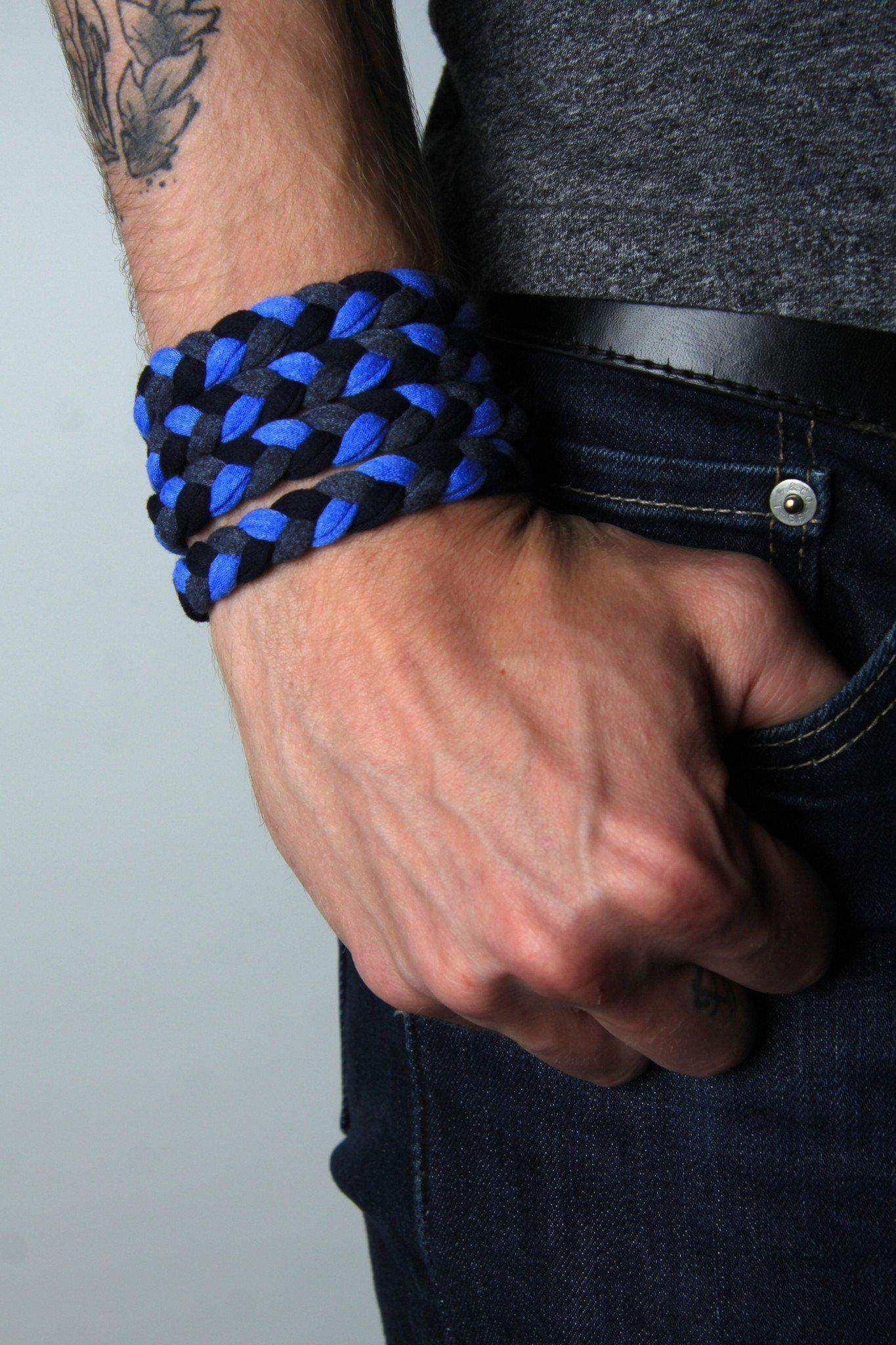 mens bracelet-Blue Navy Charcoal Braided Bracelet-Necklush