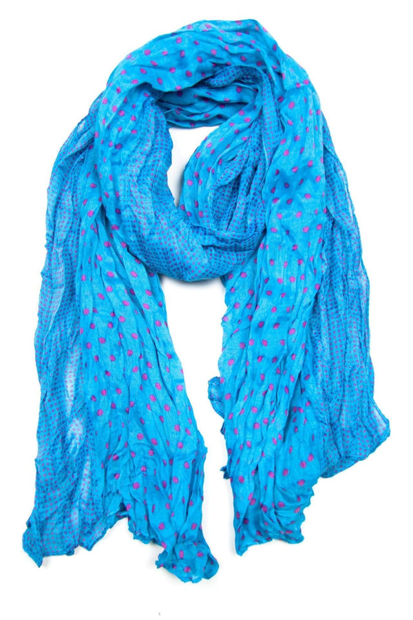 Blue Pink Dot Scarf