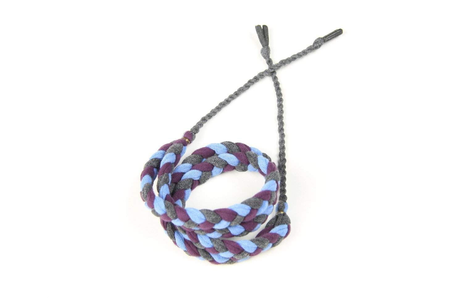 mens bracelet-Blue Purple Charcoal Gray Braided Bracelet-Necklush
