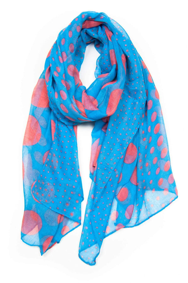 Blue Red Polka Dot Scarf-scarves-Necklush