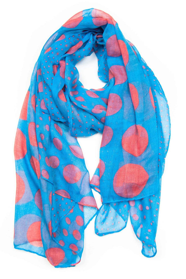 Blue Red Polka Dot Scarf