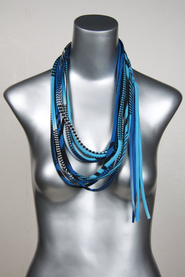 Light Blue Skinny Scarf Necklace