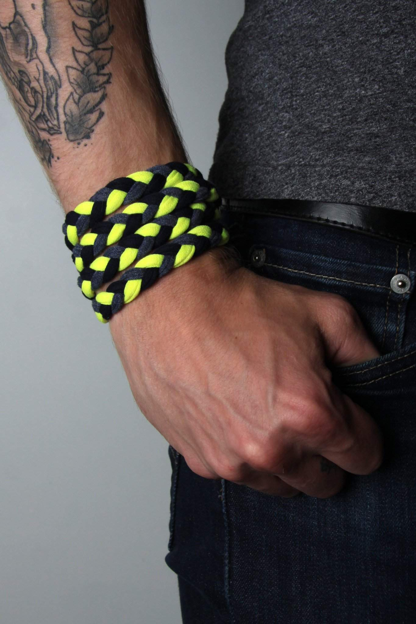 Braided Bracelet / Bright Yellow-bracelets-Necklush