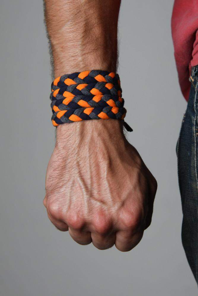 Braided Bracelet / Orange, Black Charcoal Gray-bracelets-Necklush