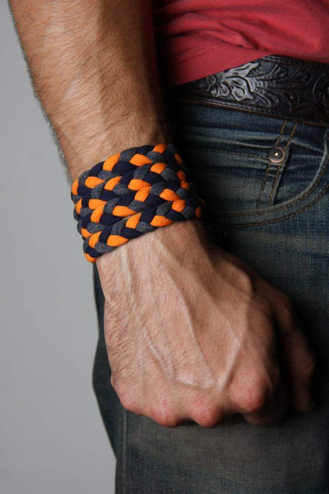 Braided Bracelet / Orange, Black Charcoal Gray
