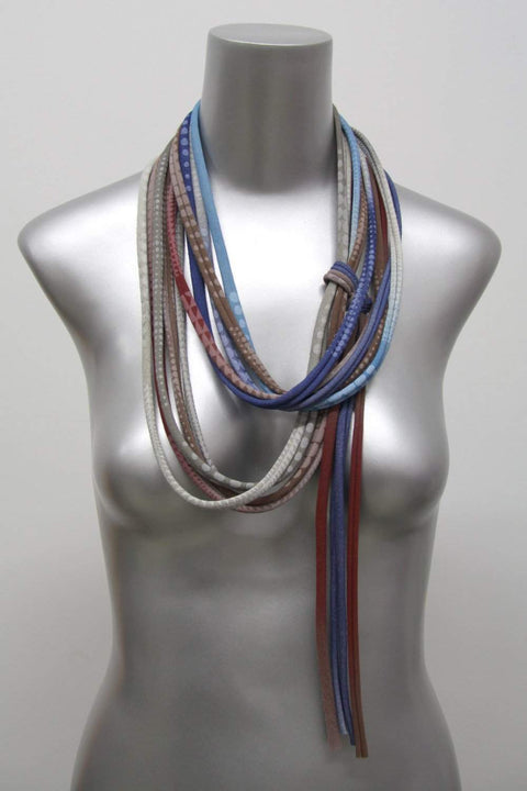 Brown Grey Burgundy Blue / Skinny Scarf Necklace-scarves-Necklush