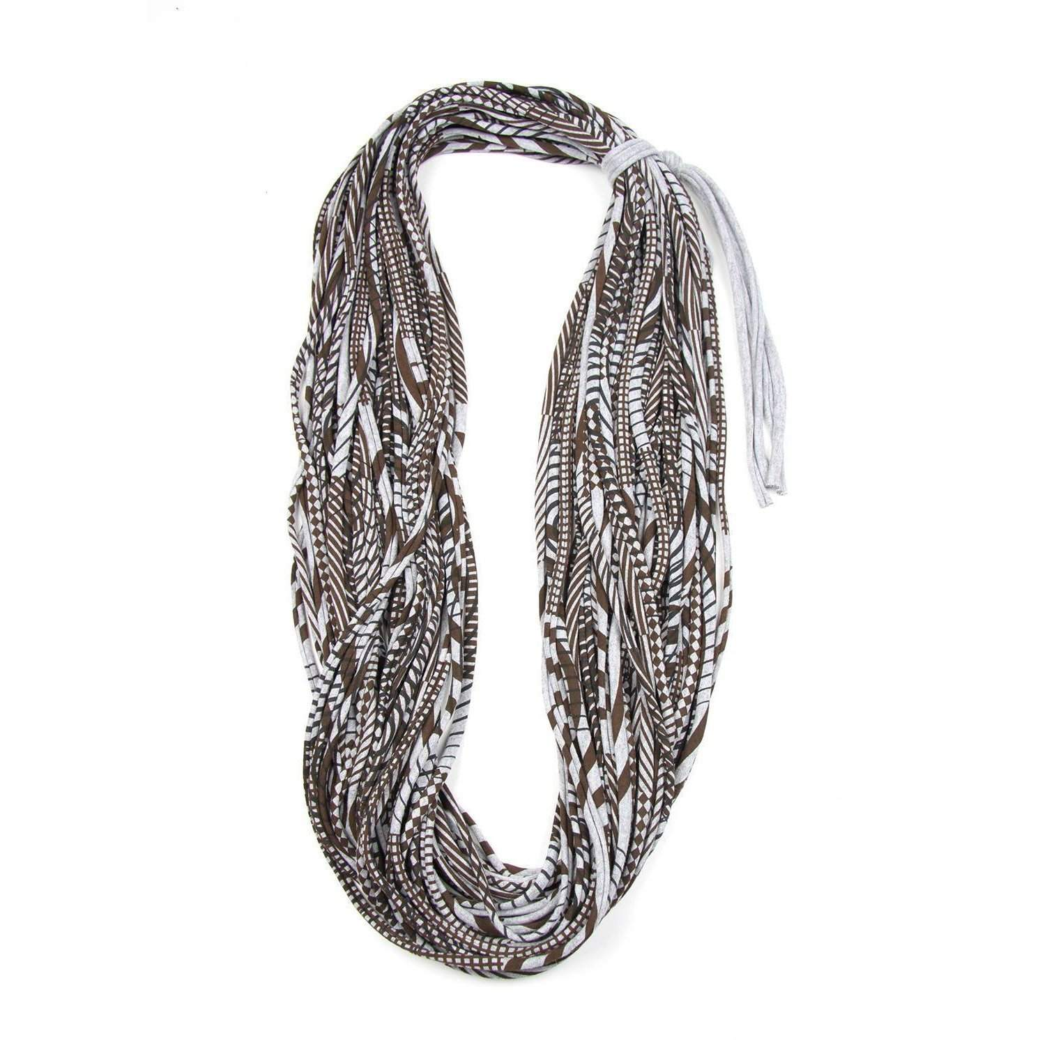 Brown Heather Gray Cowl Scarf-scarves-Necklush