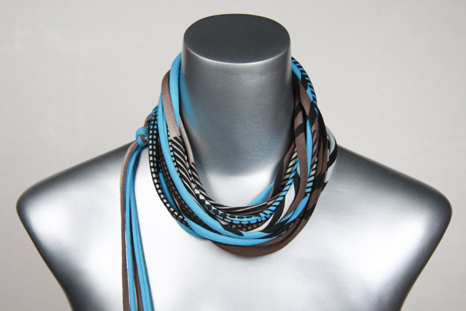 Necklush Skinny Scarf / Light Blue & Brown / Unisex