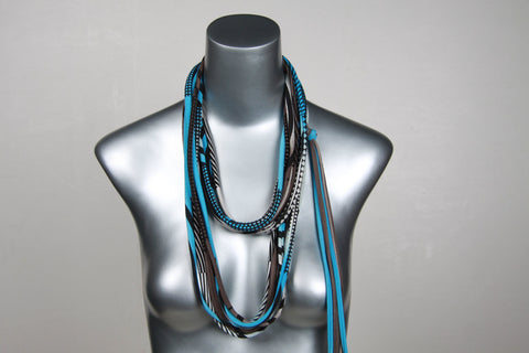 Light Blue & Brown Skinny Scarf Necklace