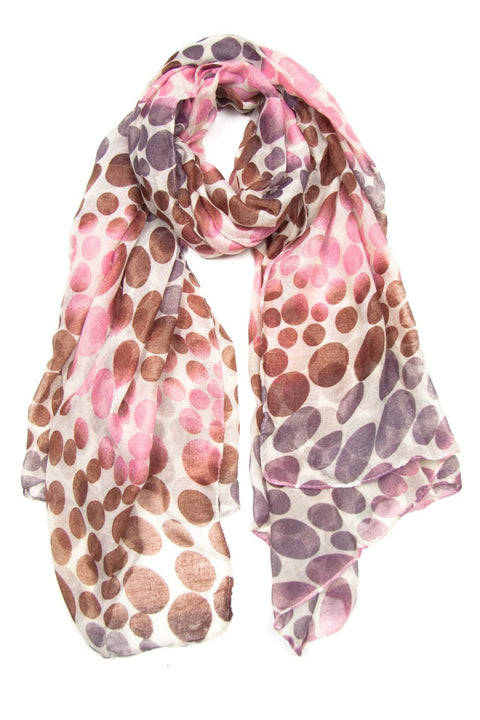 Brown Plum Purple Pink Dot Scarf