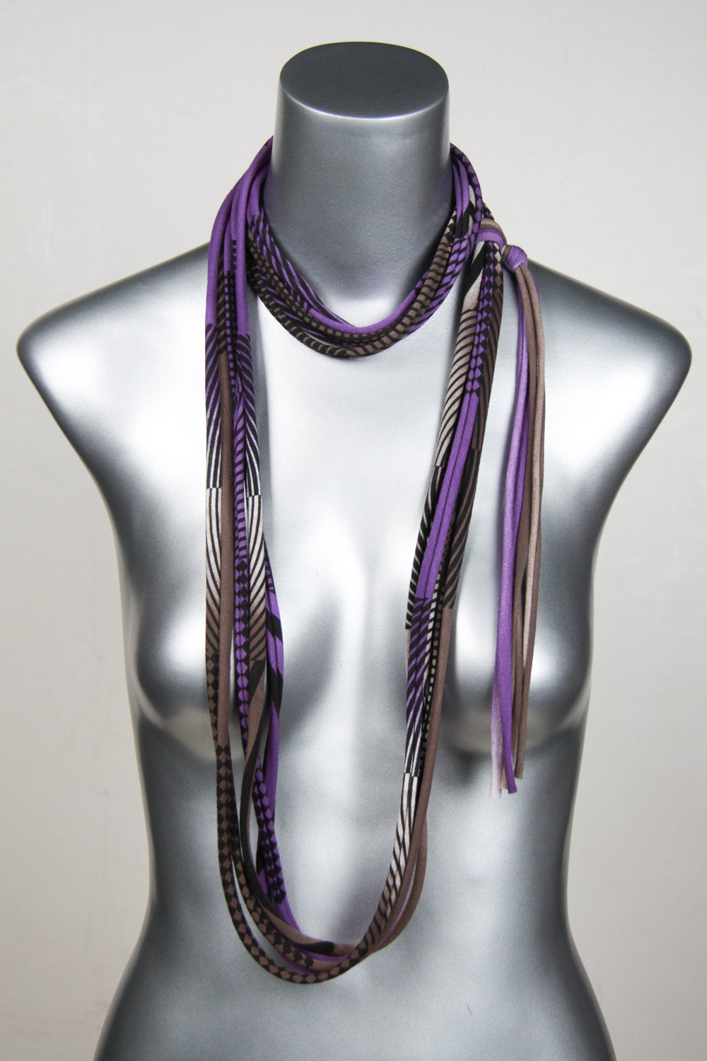 Necklush Skinny Scarf / Purple & Brown / Unisex