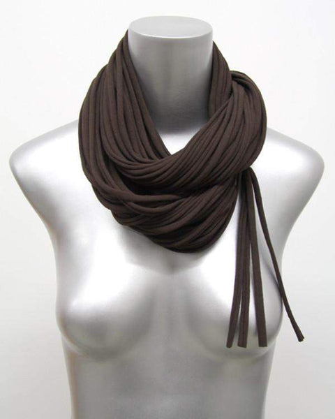 Brown Cowl Scarf-scarves-Necklush