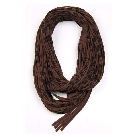 Brown Striped Chunky Scarf-scarves-Necklush