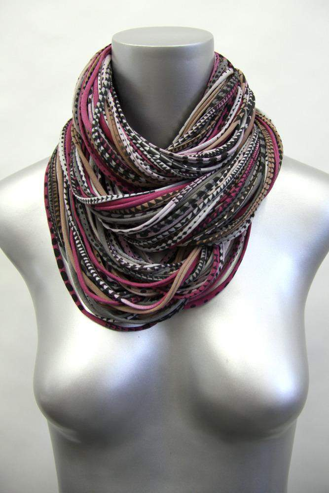 Burgundy Gray Light Brown Chunky Scarf-scarves-Necklush