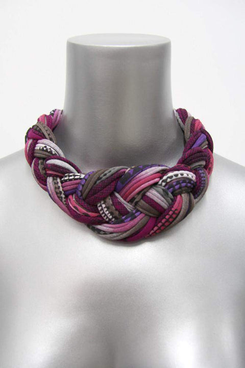 Burgundy Purple Braided Necklace, Womens Choker, Statement Neckpiece-neckpieces-Necklush