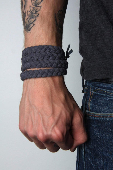 mens bracelet-Charcoal Gray Braided Bracelet-Necklush