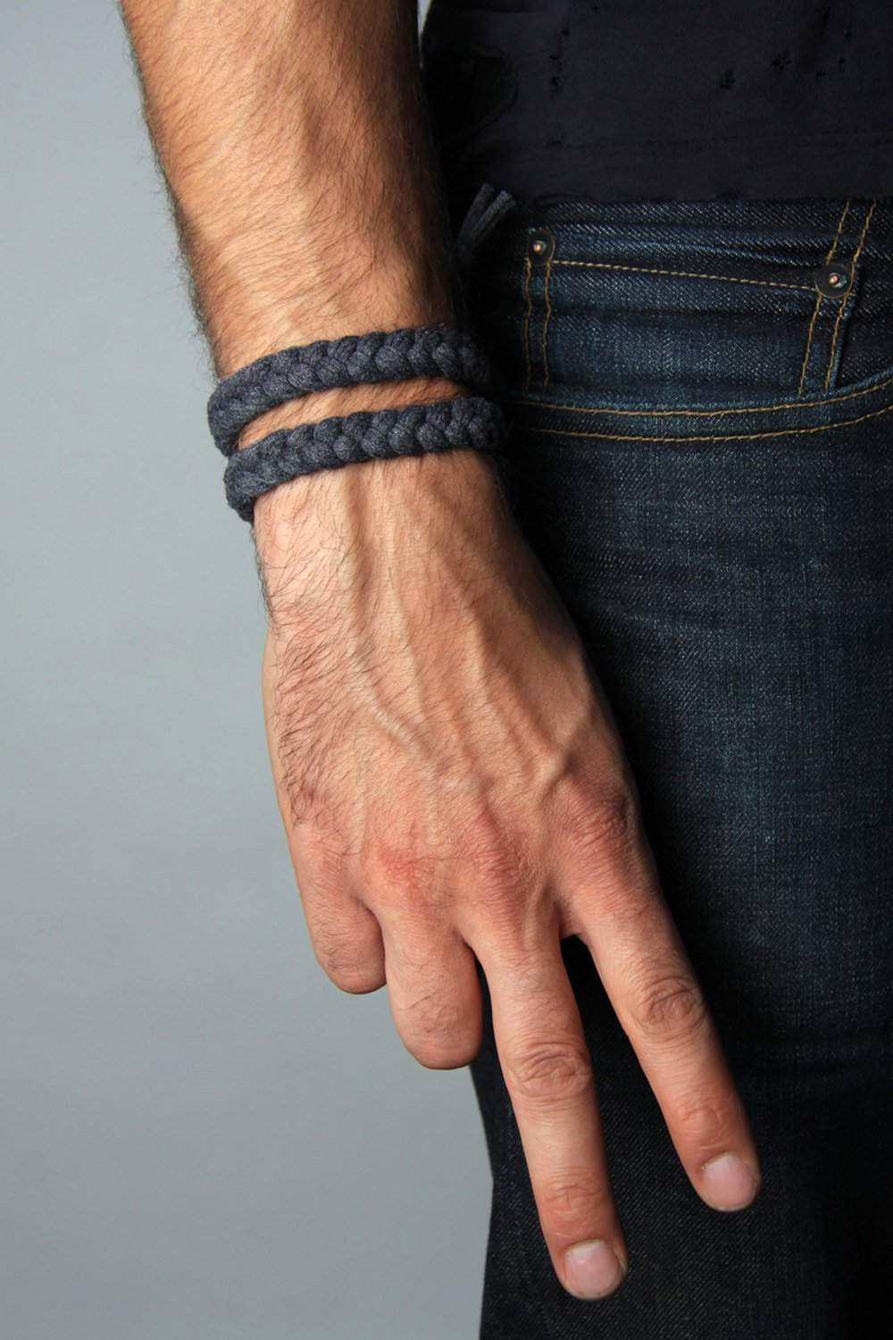 mens bracelet-Charcoal Grey Braided Bracelet-Necklush