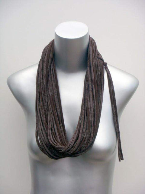 Chocolate Brown with White Print / Classic-scarves-Necklush
