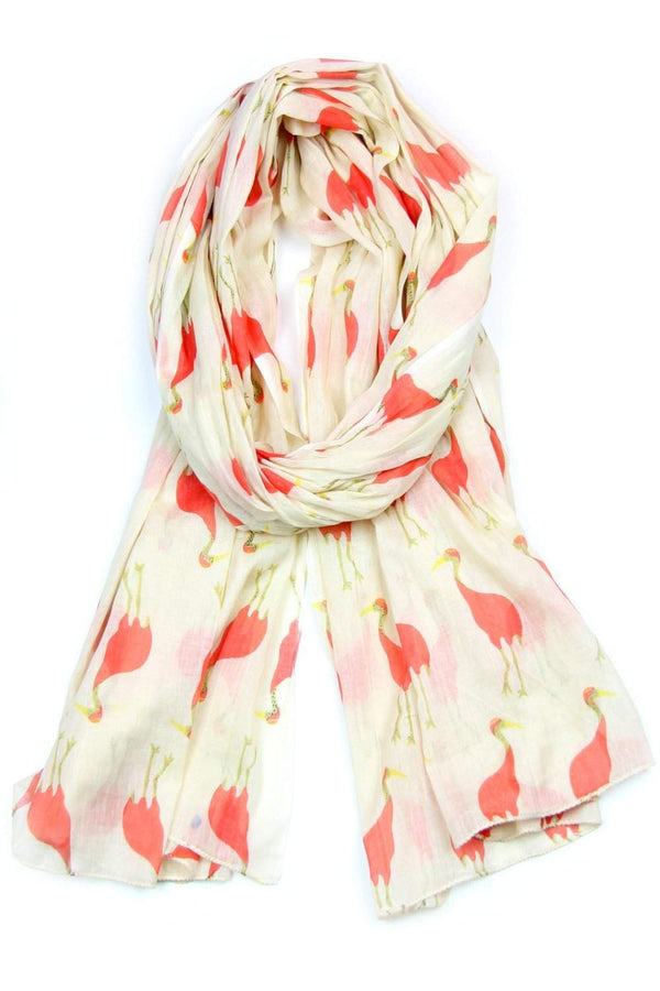 Coral Yellow Bird Print Soft Cotton Scarf-scarves-Necklush