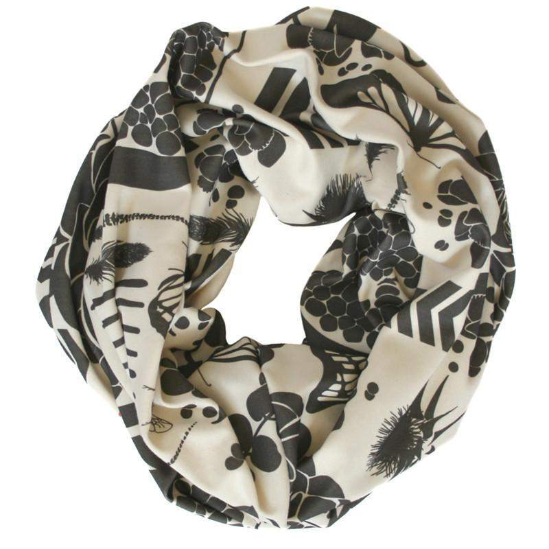 Cream Charcoal Gray Infinity Scarf-scarves-Necklush