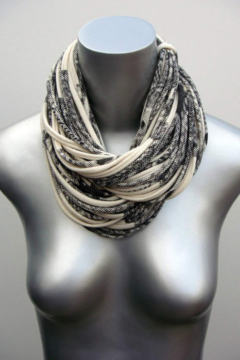 Cream & Dark Gray Scarf / Cowl-scarves-Necklush