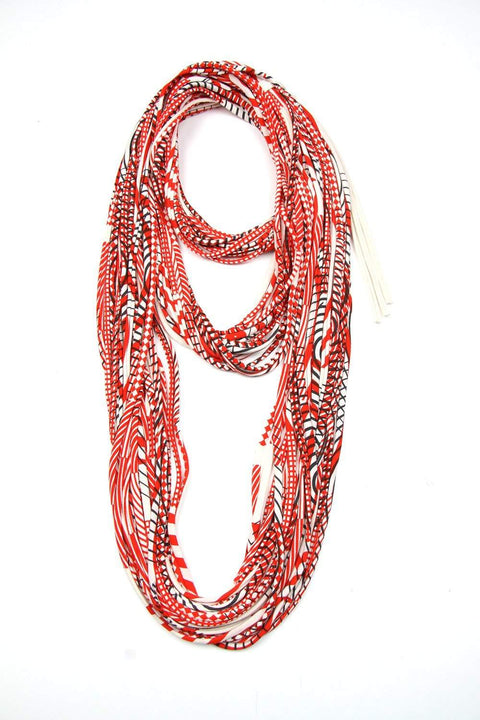 Cream Red Black Cowl Scarf-scarves-Necklush