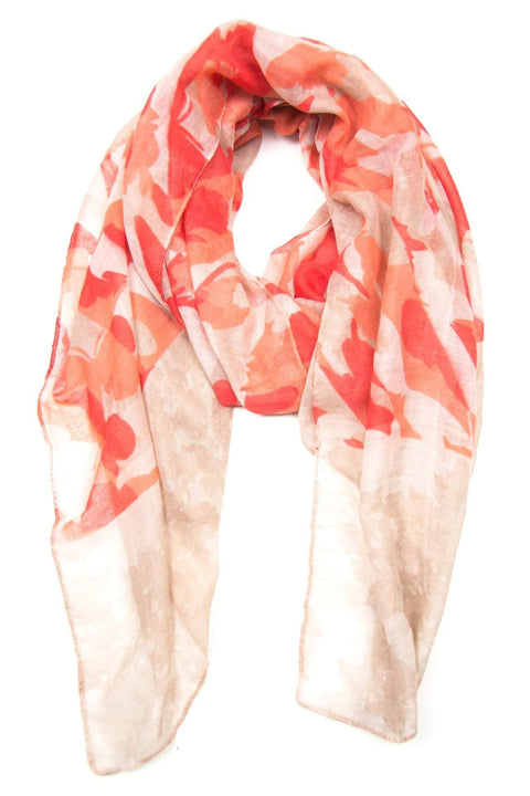 Cream Red Peach Pink Scarf