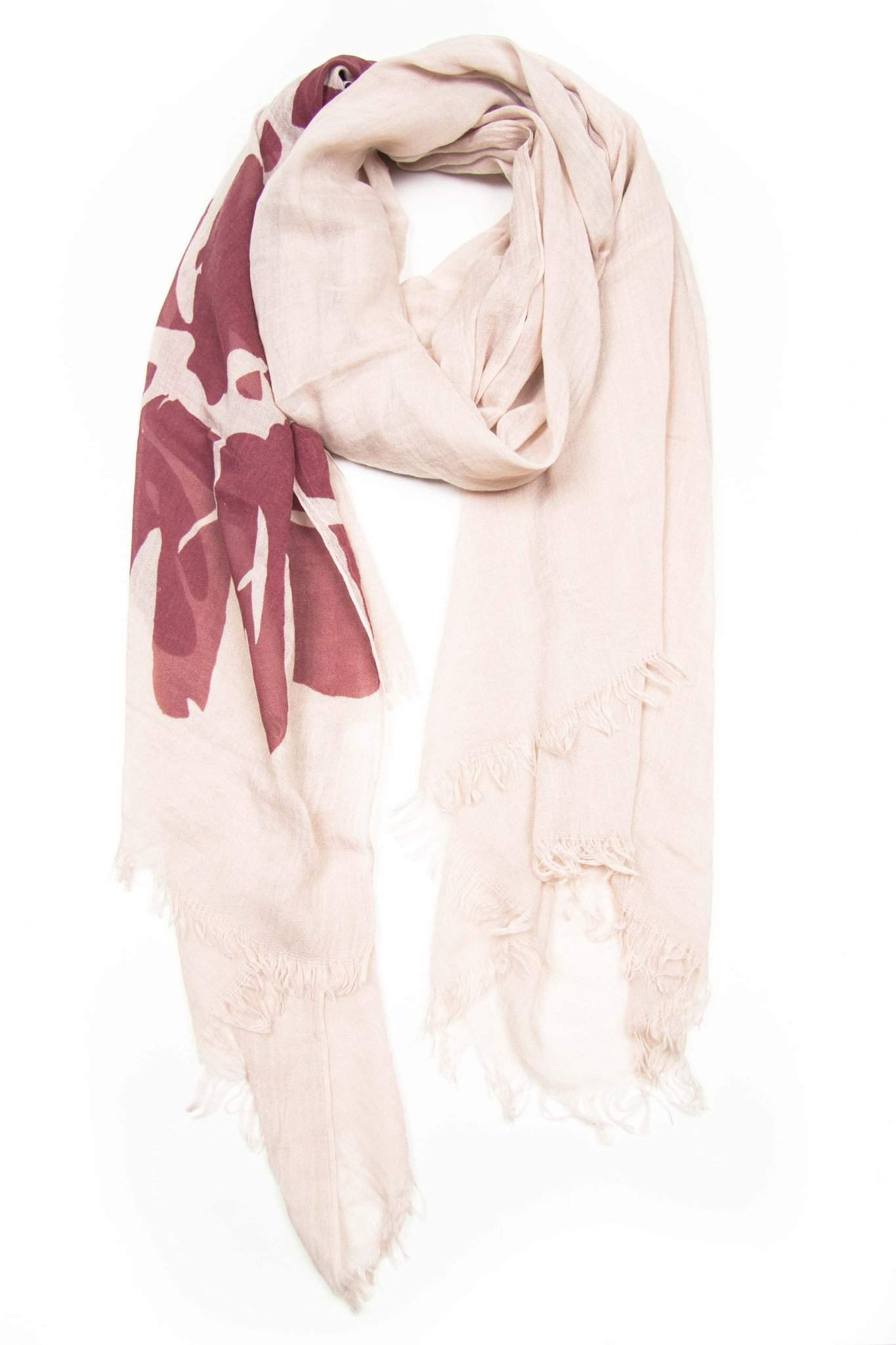 Cream Red Scarf with Flower Print-scarves-Necklush