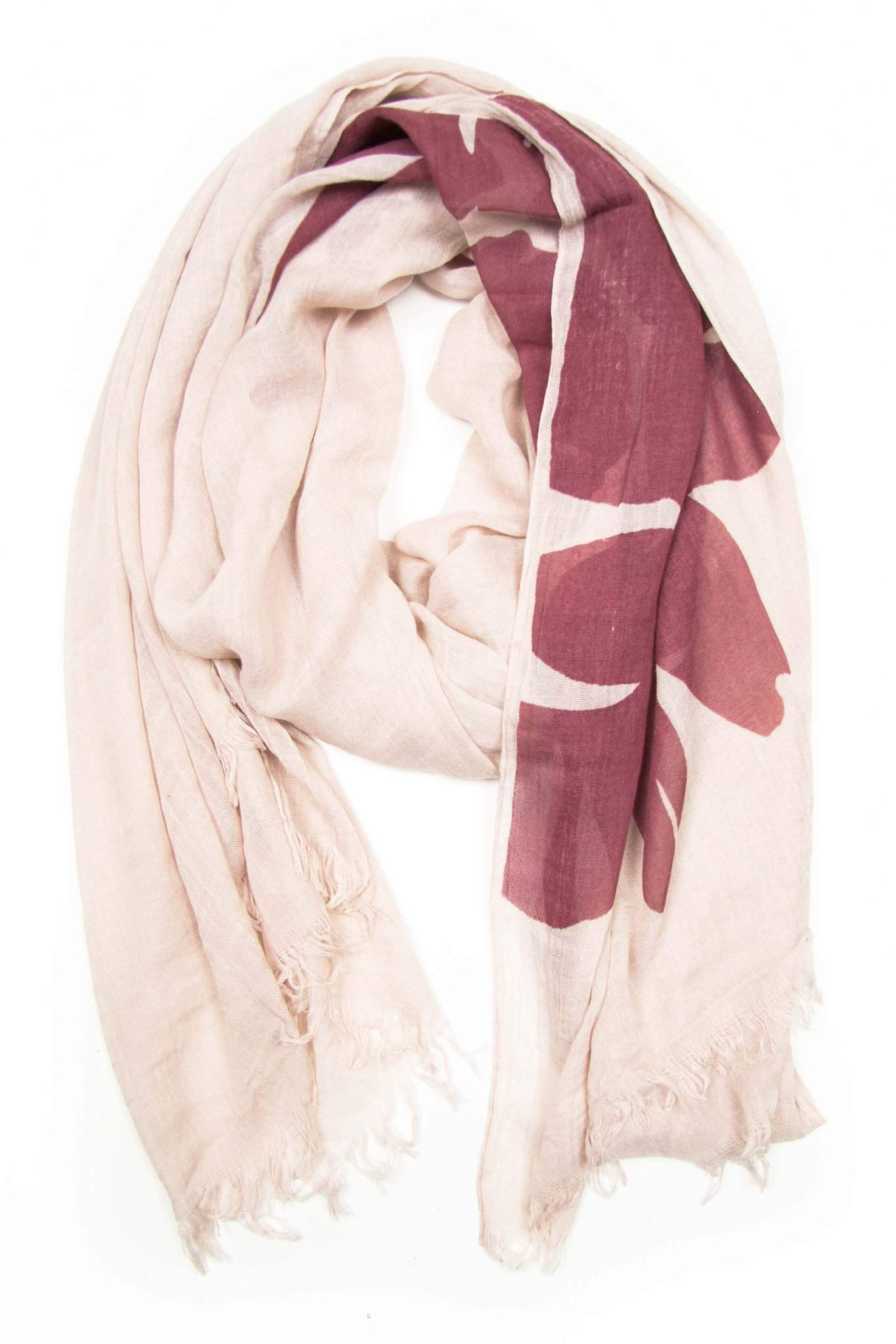 Cream Red Scarf with Flower Print