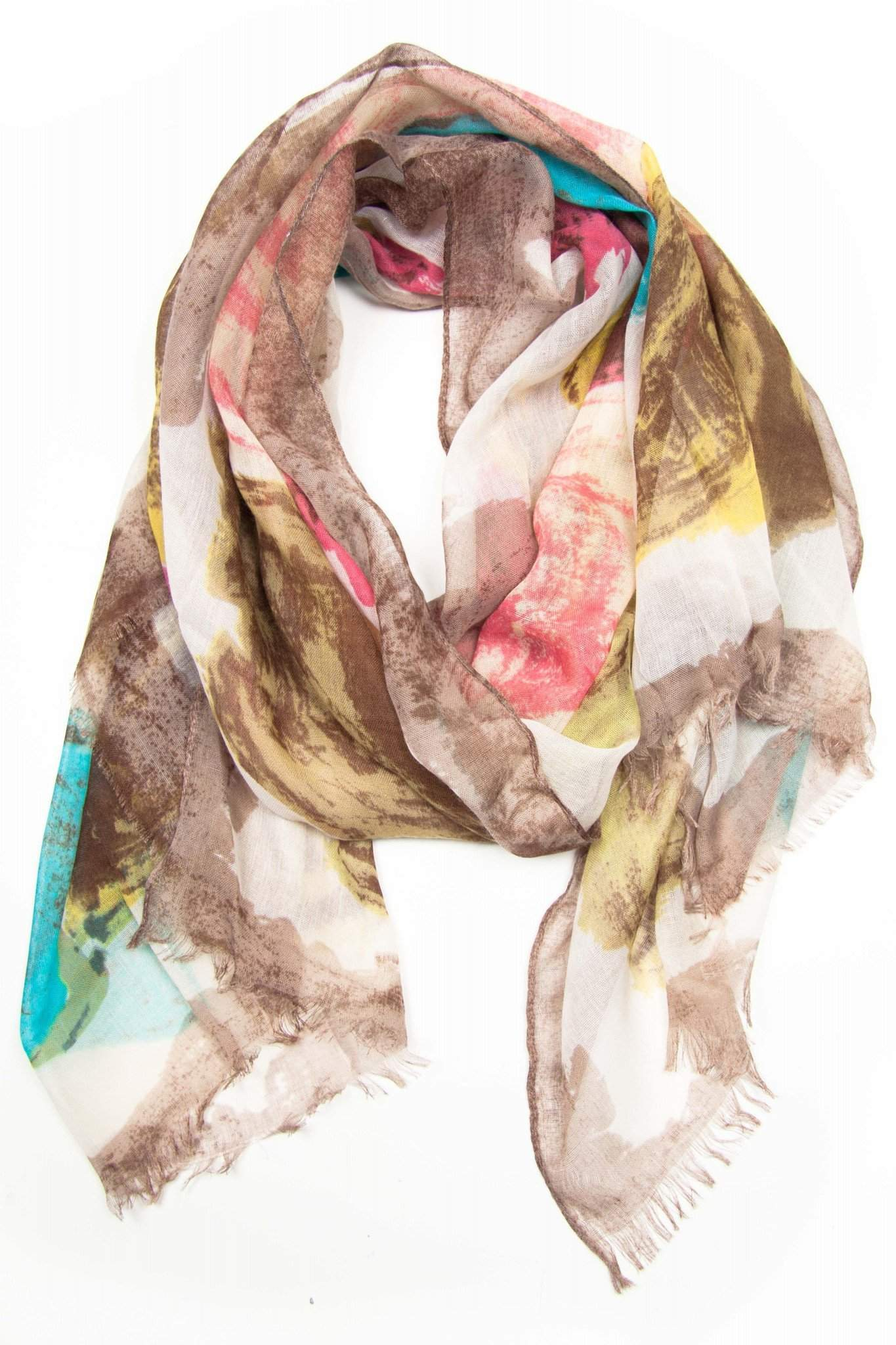 Cream Red Yellow Blue Brown Scarf-scarves-Necklush