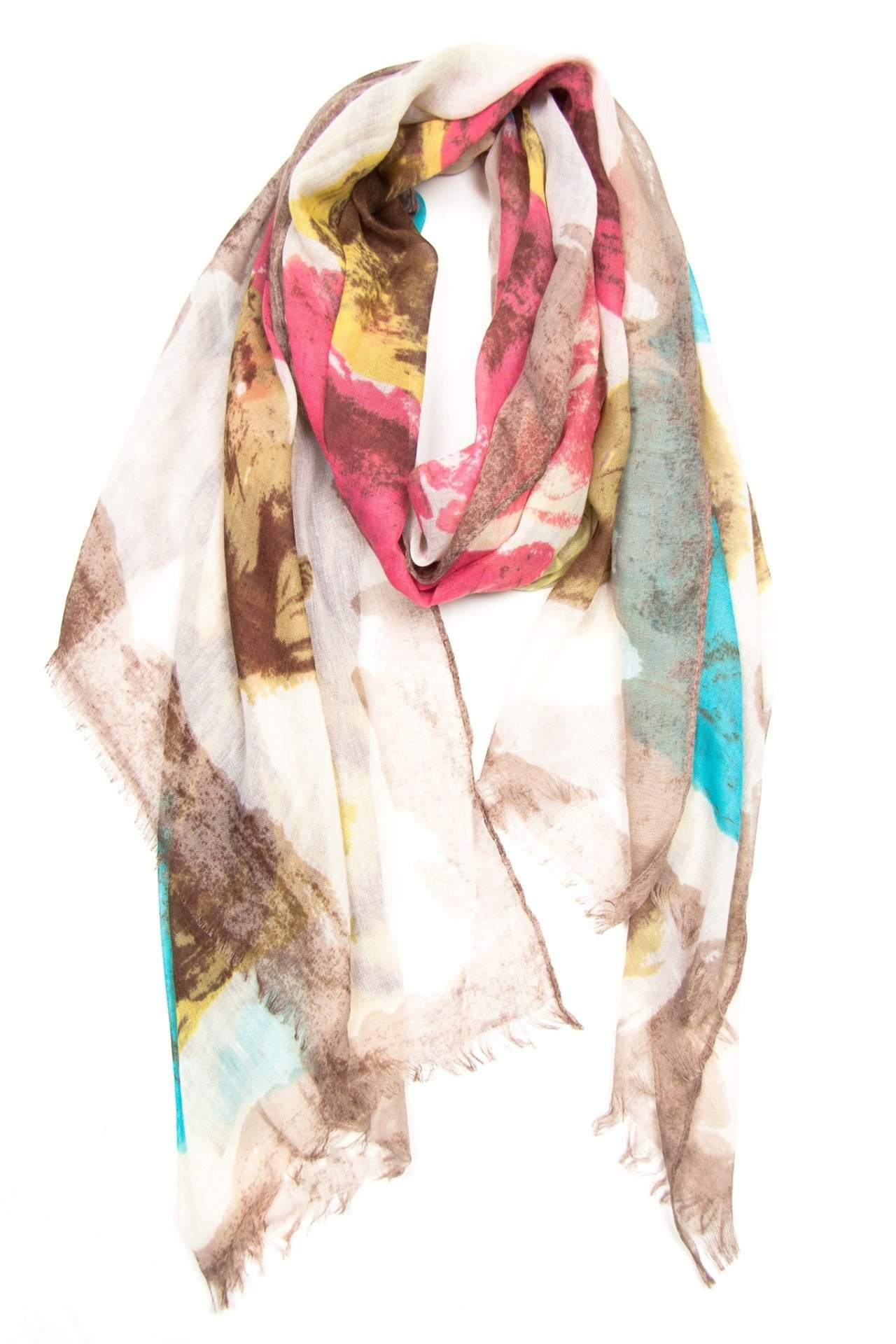 Cream Red Yellow Blue Brown Scarf