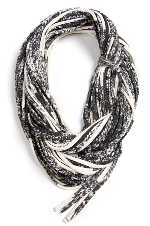 Cream White Dark Gray Chunky Scarf-scarves-Necklush